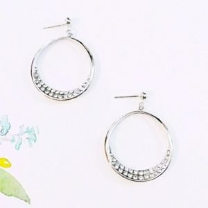 Avenue Silver & Crystal Hoop Earrings